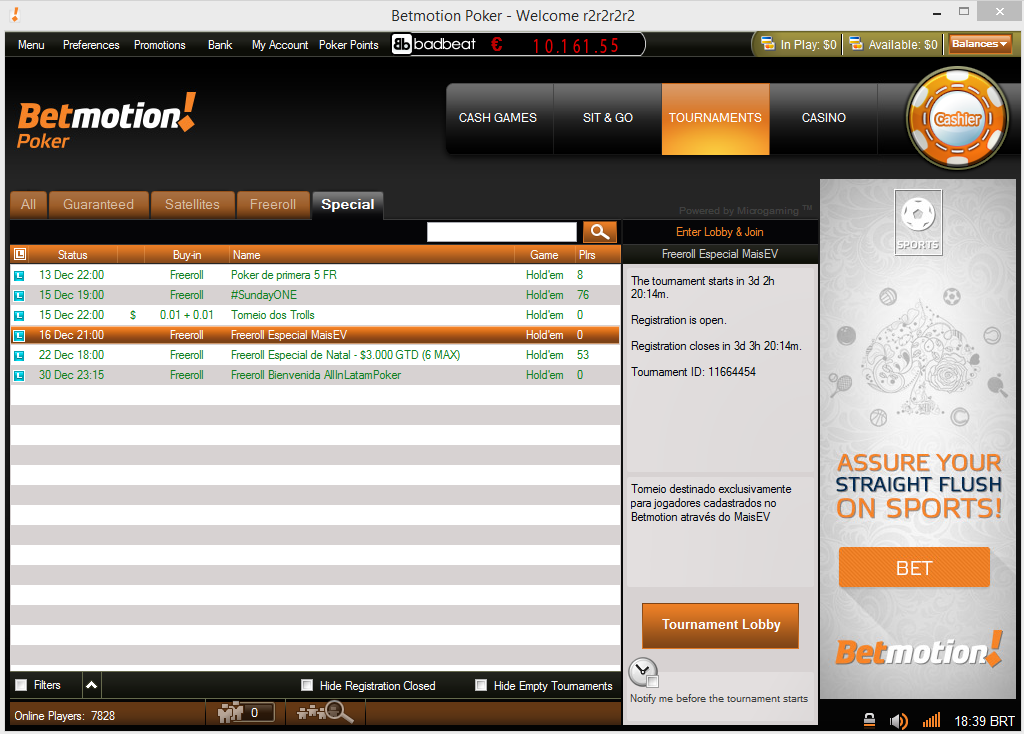 freeroll betmotion