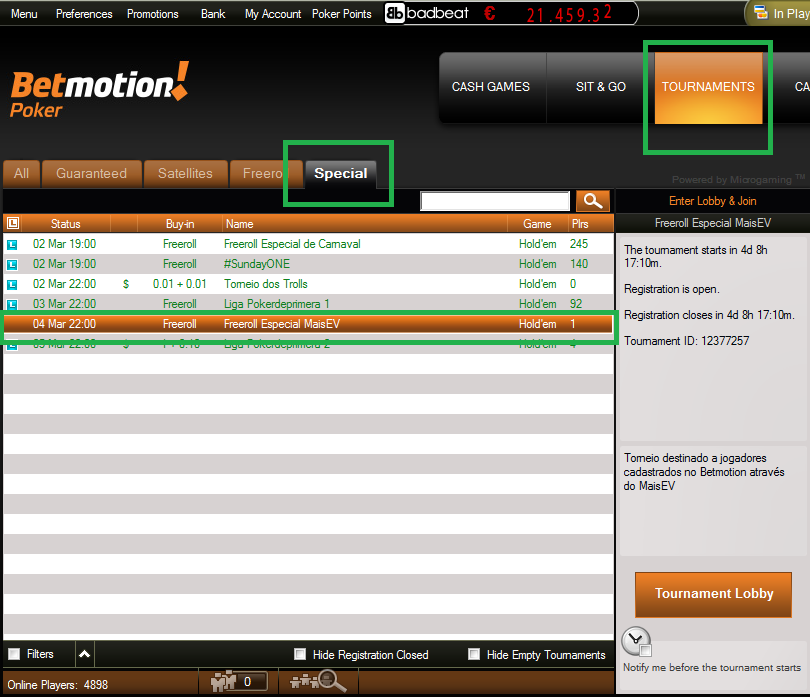 Freeroll Betmotion MaisEV