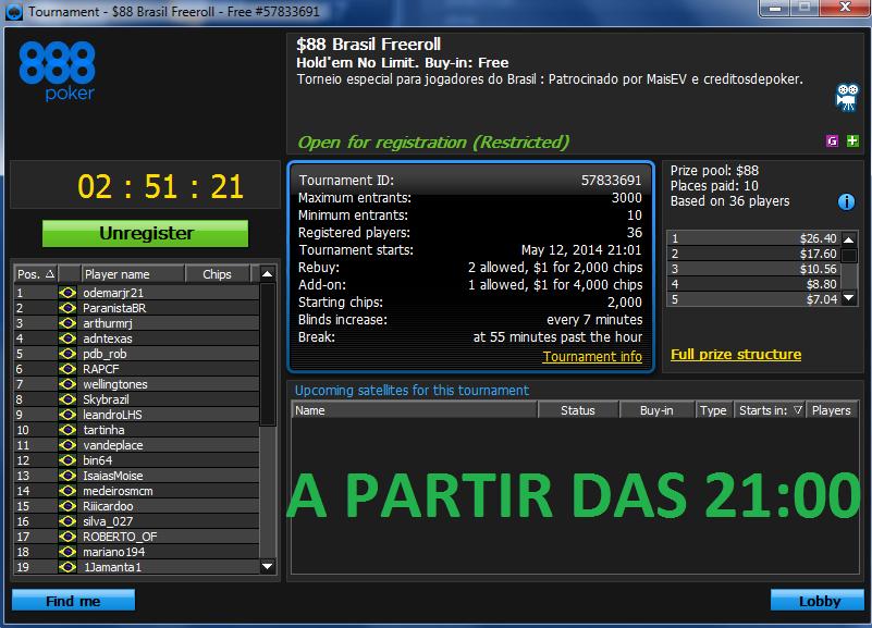 Freeroll 888 Brasil Freeroll