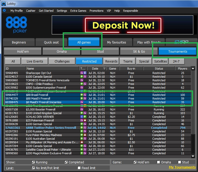888 poker freerolls segunda