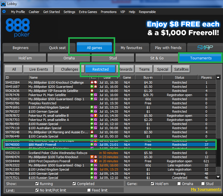 888poker FReeroll MaisEV