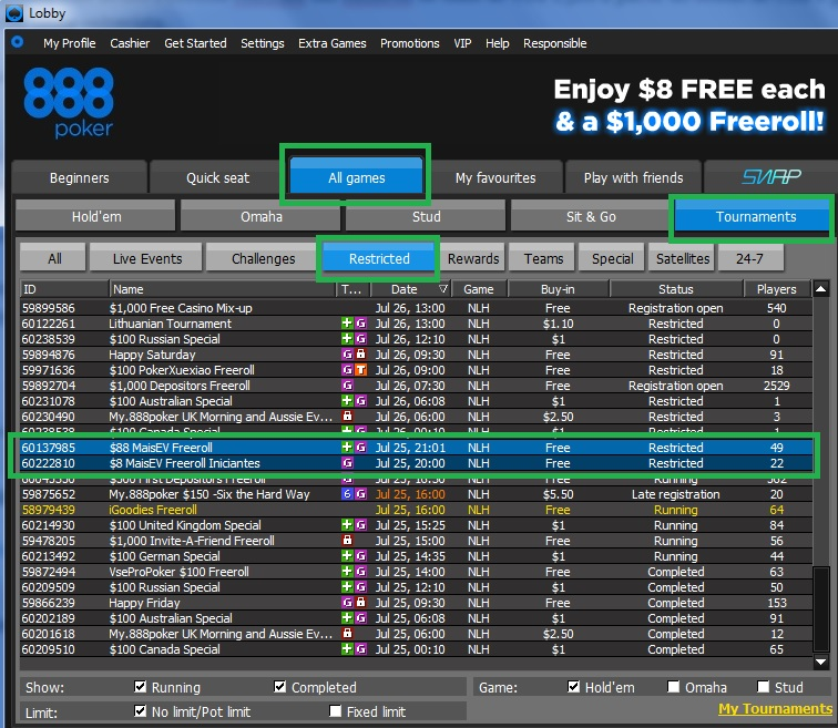888poker freeroll sexta