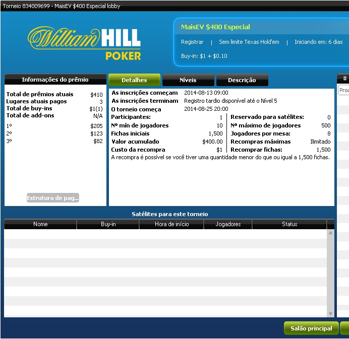 Torneio William Hill MaisEV