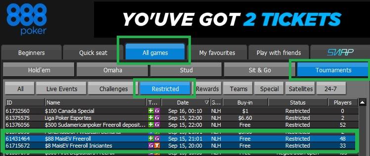 888poker freerolls setembro