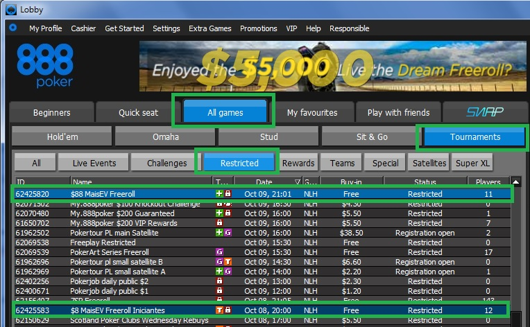888poker freeroll 7 out