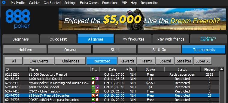 888poker freeroll iniciantes 10out