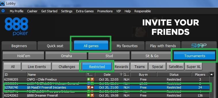 Freeroll Iniciantes 888poker 20out