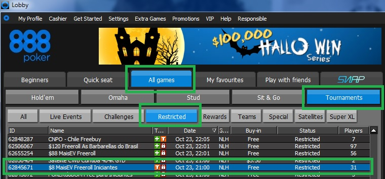 Freeroll iniciantes 23 out