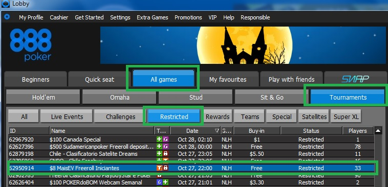 freeroll 888poker 27 out