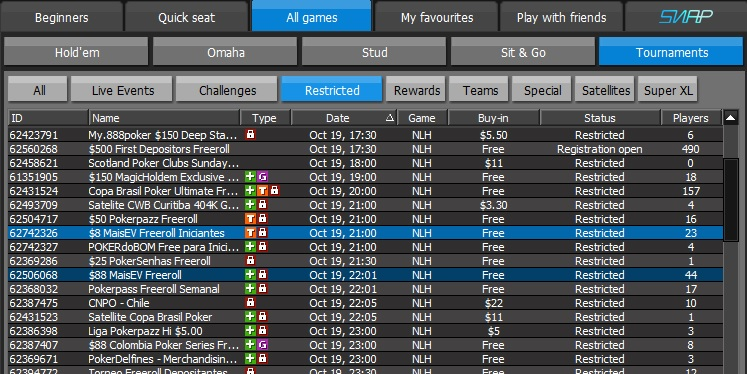freerolls no 888poker