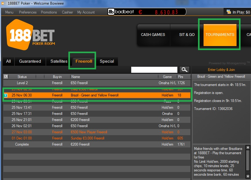 188BET Freeroll 24 de nov