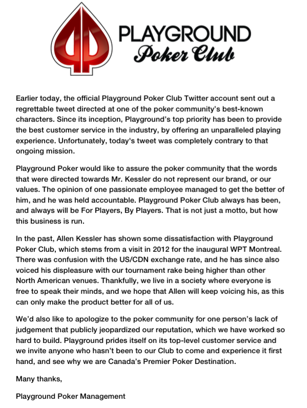 Comunicado rake Playground Poker Club