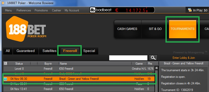 Freeroll 188BET 3 nov