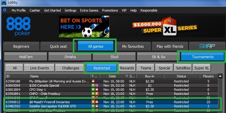 Sierra Poker 300K 888poker satélite