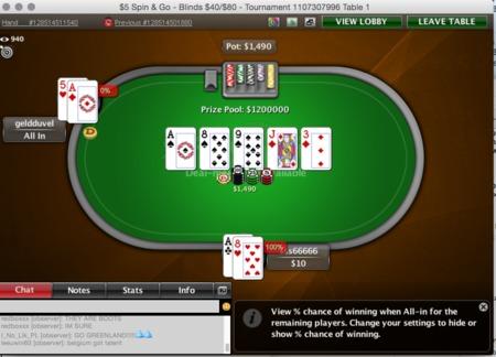 spin and go 1 milhão mão final