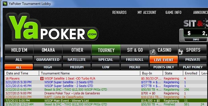 ya poker lobby wsop