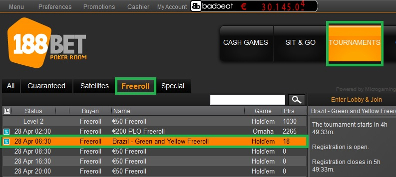 188bet freeroll 27 abril