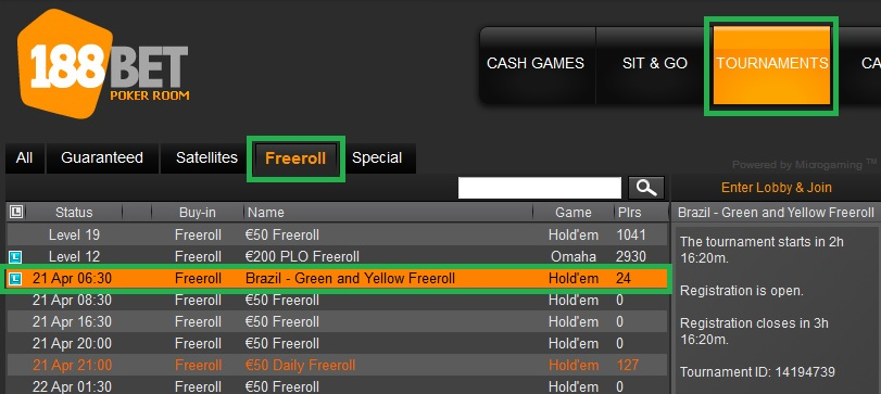 freeroll 188bet 20 abr