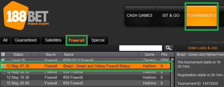 188BET freeroll 11 maio