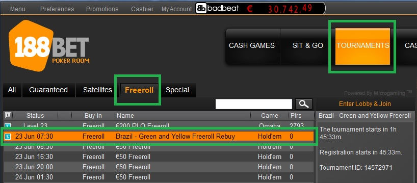 22 jun 188bet freeroll