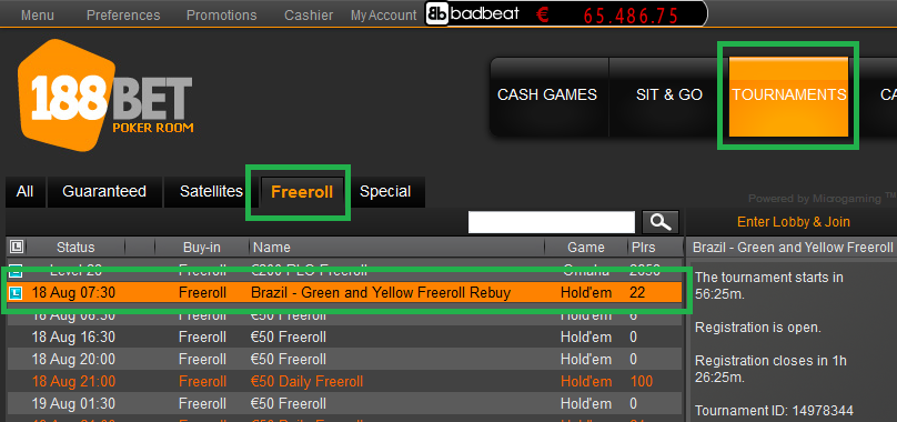 17 ago 188bet freeroll