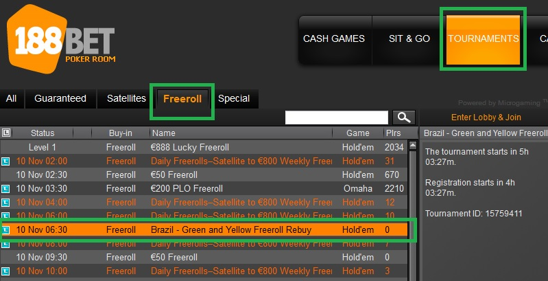 freeroll 188bet 8 de nov