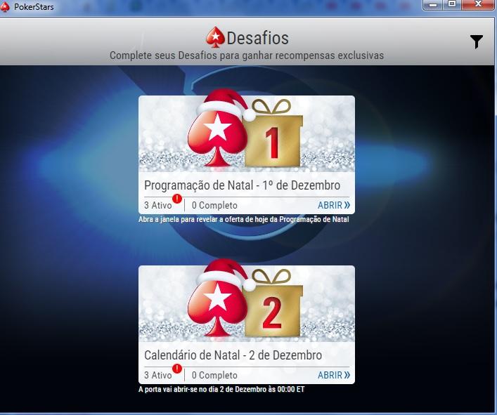 pokerstars calendário de natal