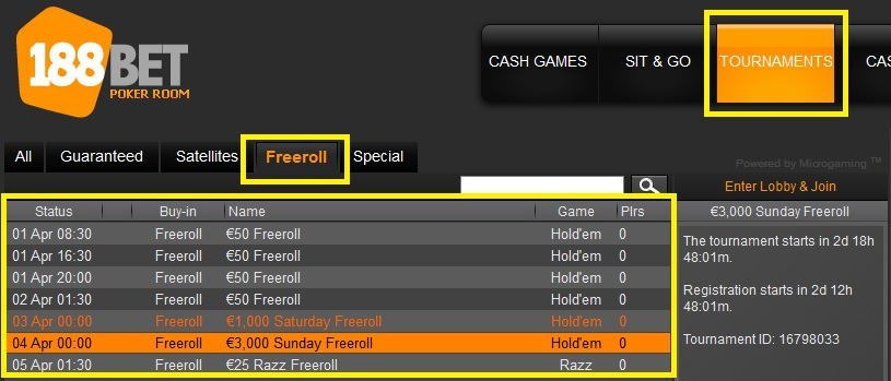 freerolls 188bet abr