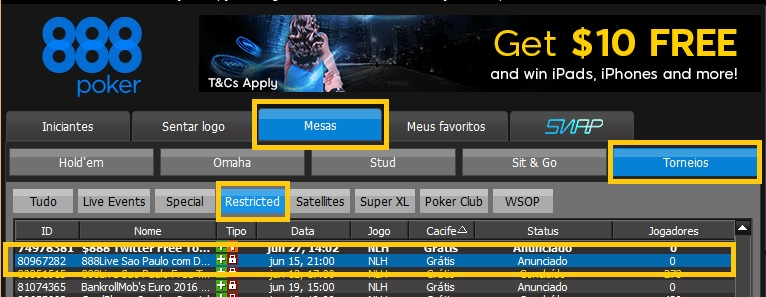 888poker freeroll denilson lobby