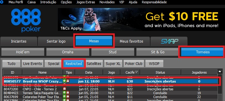 satelite wsop 888poker crazy eights