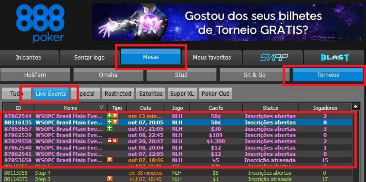 lobby satelite 888poker wsop brasil