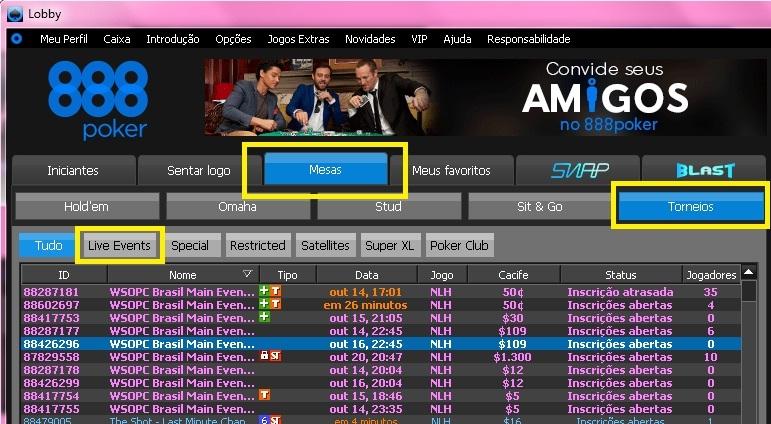 satelite wsop brasil 888poker lobby