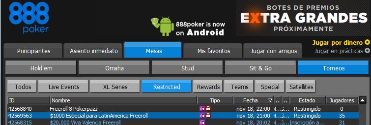 Freeroll 888 poker