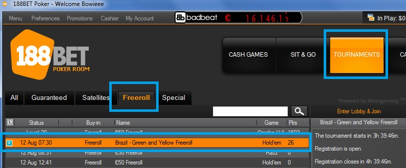 Freeroll  188bet