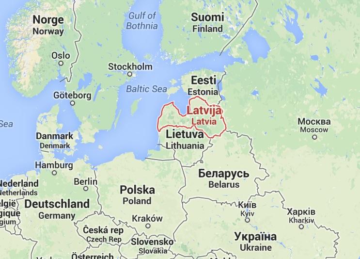 Mapa Letônia