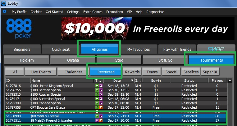 888poker freerolls 17 set