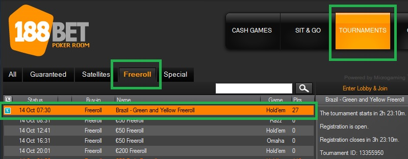 Freeroll 188BET 13 out