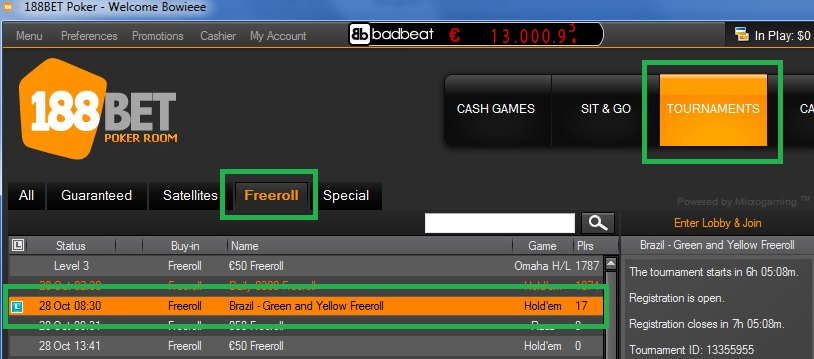 freeroll 188bet 27 out