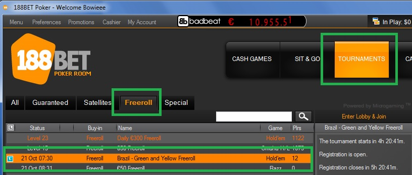 Freeroll 188BET 20out