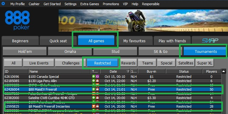 Freerolls 888poker 14 out