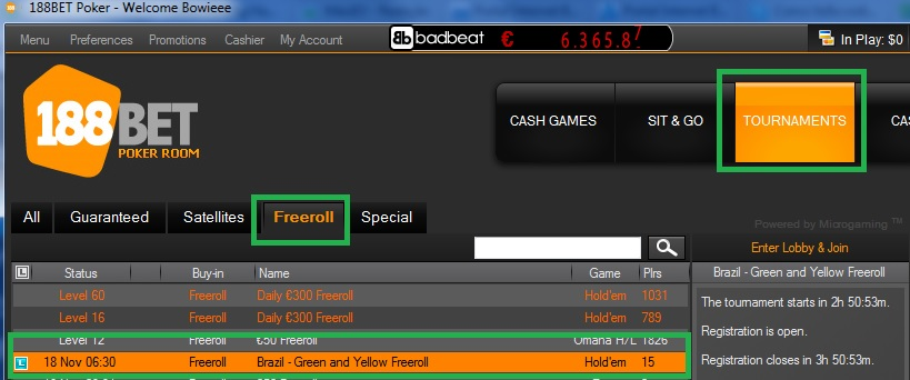 188BET freeroll 17 de nov