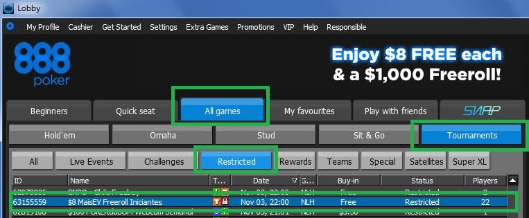 Freeroll 888poker 3 de nov