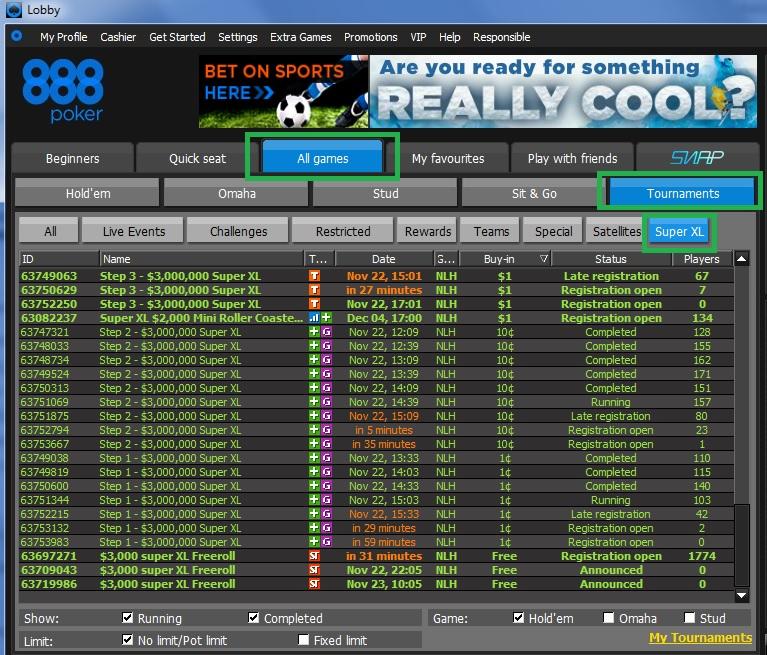 XL Series Lobby 888poker