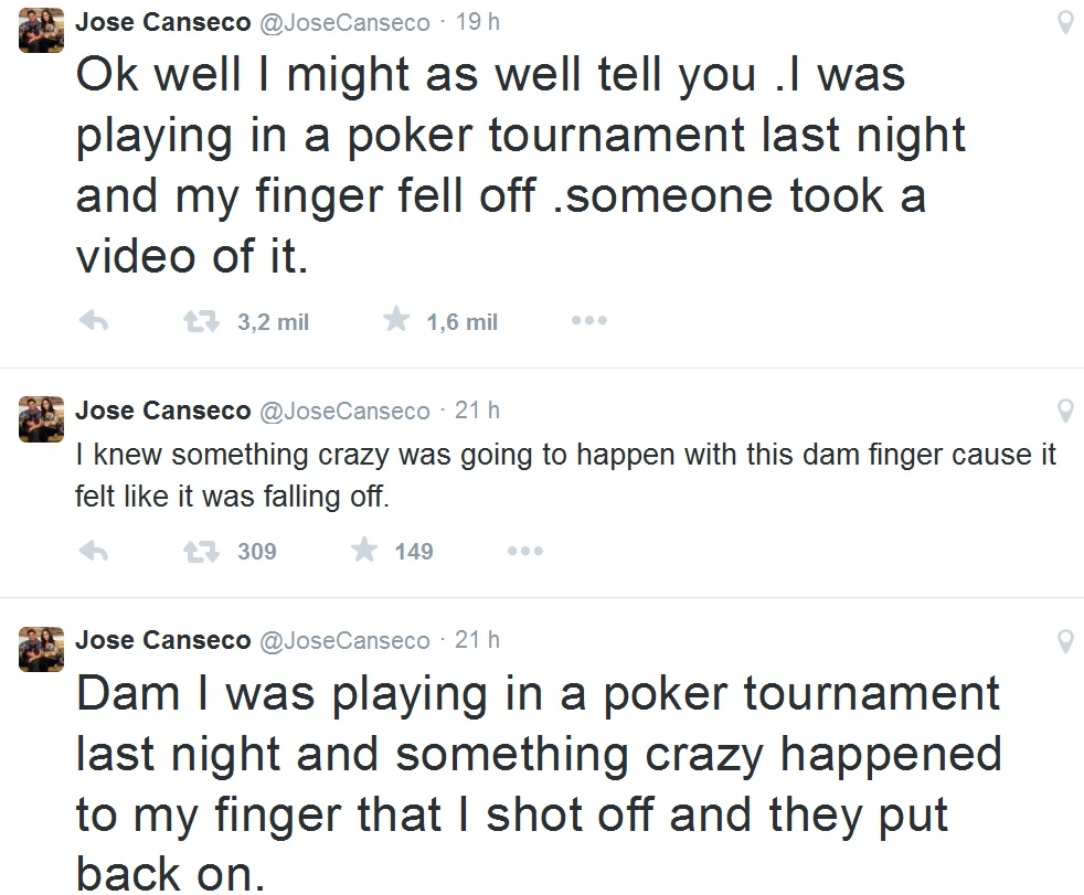 twitter Jose Canseco dedo torneio poker