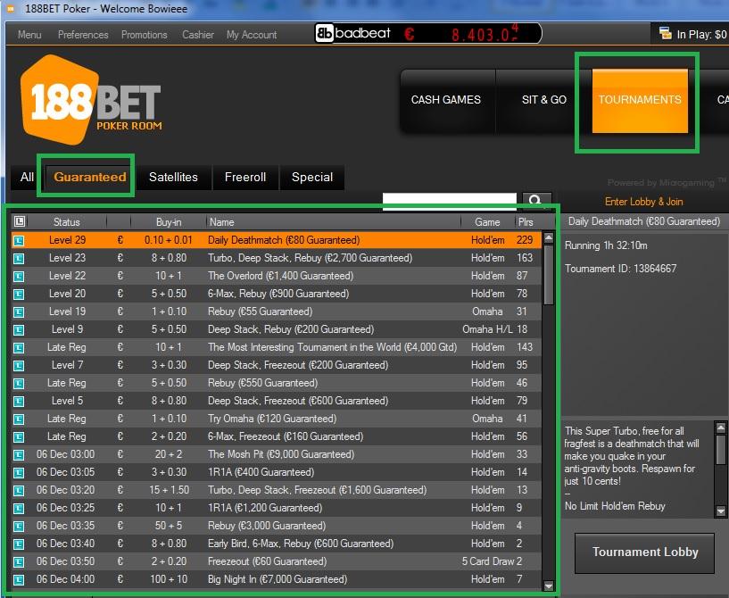 Lobby torneios garantidos 188BET