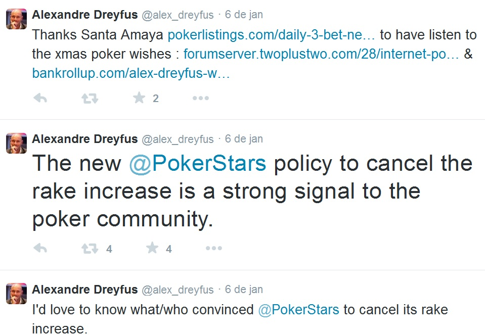 Alex Dreyfus rake pokerstars