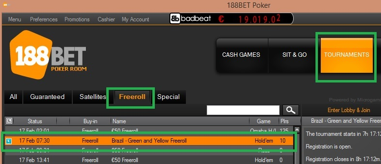 188bet freeroll