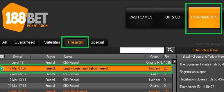 freeroll 188bet 16 mar