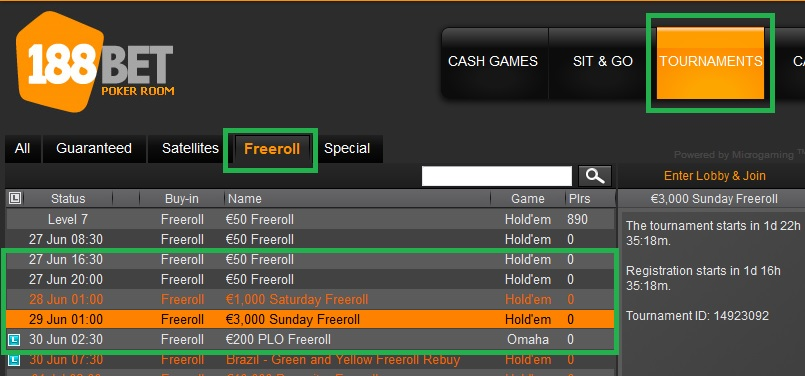 findi freerolls 188bet