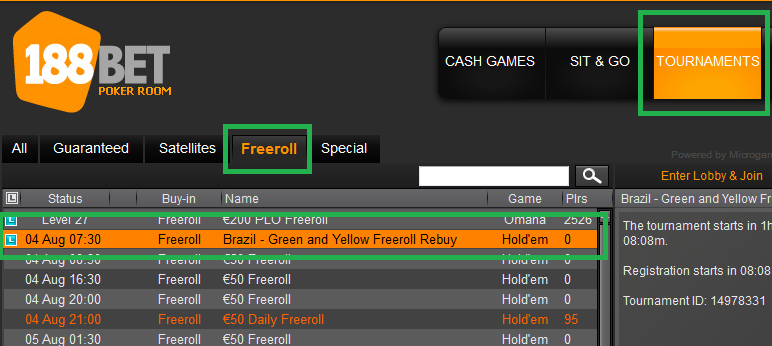 3 agosto freeroll 188bet